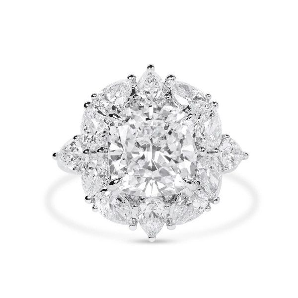 White Diamond Ring, 5.02 Ct. (7.49 Ct. TW), Cushion shape, GIA Certified, 5212431377