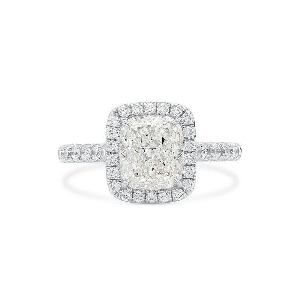 White Diamond Ring, 2.01 Ct. (2.54 Ct. TW), Cushion shape, GIA Certified, 2215085673
