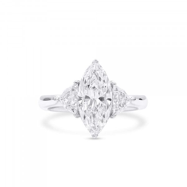 White Diamond Ring, 2.01 Ct. (2.60 Ct. TW), Marquise shape, GIA Certified, 7282986956