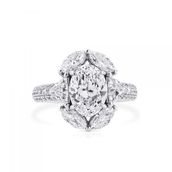 White Diamond Ring, 2.01 Ct. (3.68 Ct. TW), Oval shape, GIA Certified, 2205882422