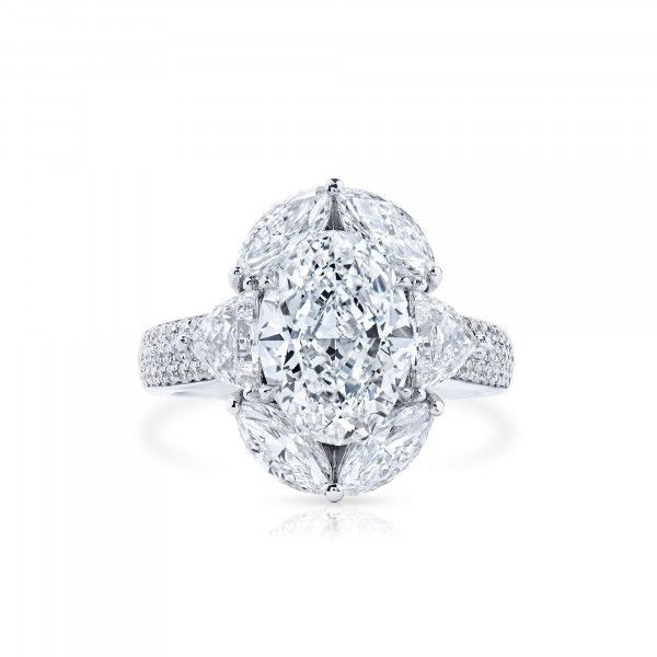 White Diamond Ring, 3.01 Ct. (5.31 Ct. TW), Oval shape, GIA Certified, 7378640928