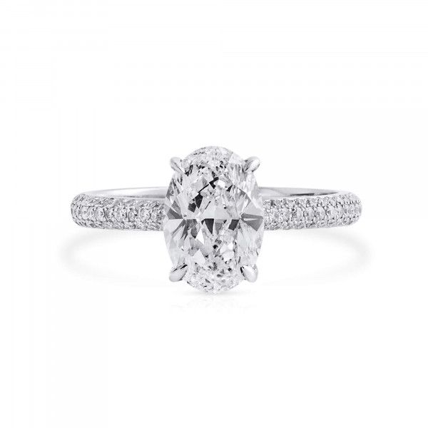 White Diamond Ring, 2.01 Ct. (2.41 Ct. TW), Oval shape, GIA Certified, 6382578237