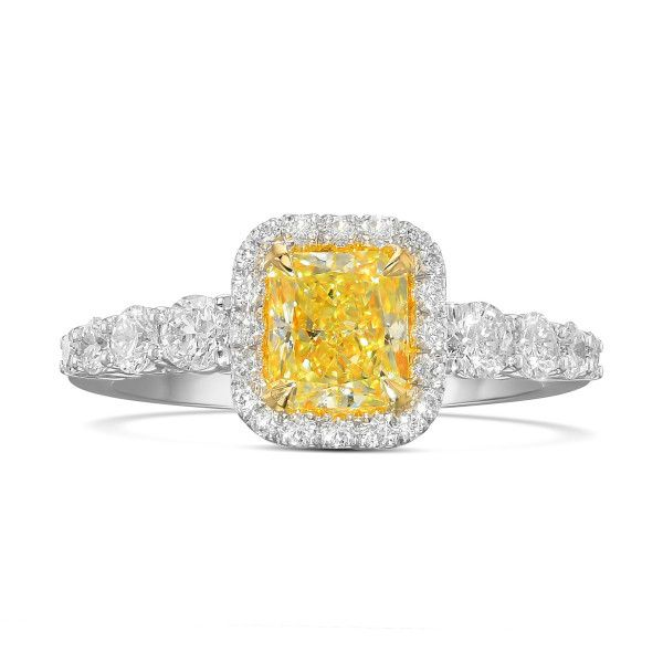Fancy Yellow Diamond Ring, 1.10 Ct. (1.78 Ct. TW), Radiant shape, GIA Certified, 1206756471