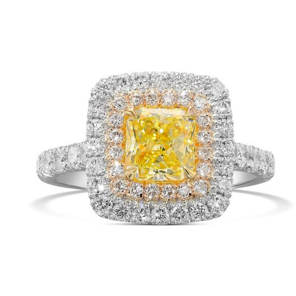 Fancy Yellow Diamond Ring, 1.15 Ct. (2.11 Ct. TW), Radiant shape, GIA Certified, 5191656023