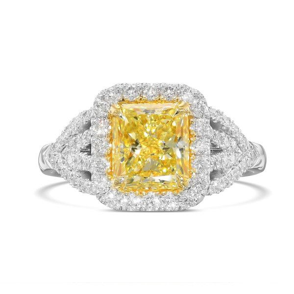 Fancy Yellow Diamond Ring, 1.73 Ct. (2.38 Ct. TW), Radiant shape, GIA Certified, 2201102851