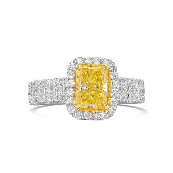 Fancy Yellow Diamond Ring, 1.06 Ct. (1.63 Ct. TW), Radiant shape, GIA Certified, 6203480572