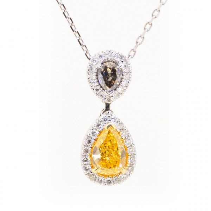 Fancy Intense Orangy Yellow Diamond Necklace, 0.64 Carat, Pear shape, GIA Certified, 6127499801