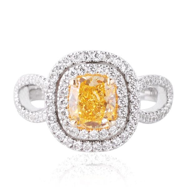 Fancy Vivid Yellow Orange Diamond Ring, 1.16 Carat, Radiant shape, GIA Certified, 15737932