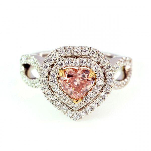 Fancy Orangy Pink Diamond Ring, 0.80 Carat, Heart shape, GIA Certified, 2155569598