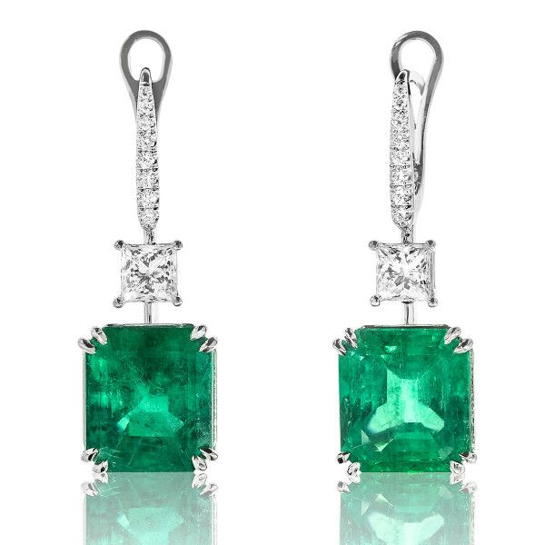 Natural Green Colombia Emerald Earrings, 16.75 Carat, GUBELIN Certified, JMEG05285031, Unheated