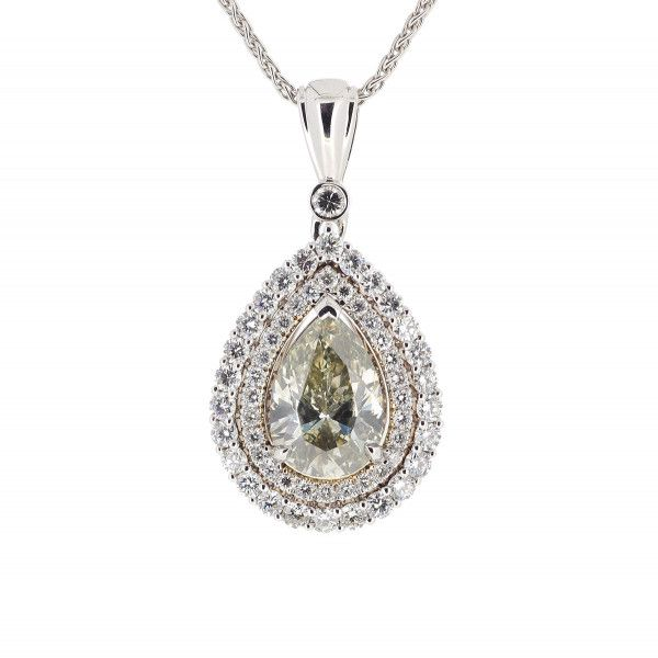 Fancy Grayish Greenish Yellow PEAR HALO Necklace, 2.31 ct, SI1, GIA