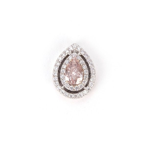 PEAR SHAPE Orangy Pink Diamond HALO PENDANT, 0.73 ct, GIA