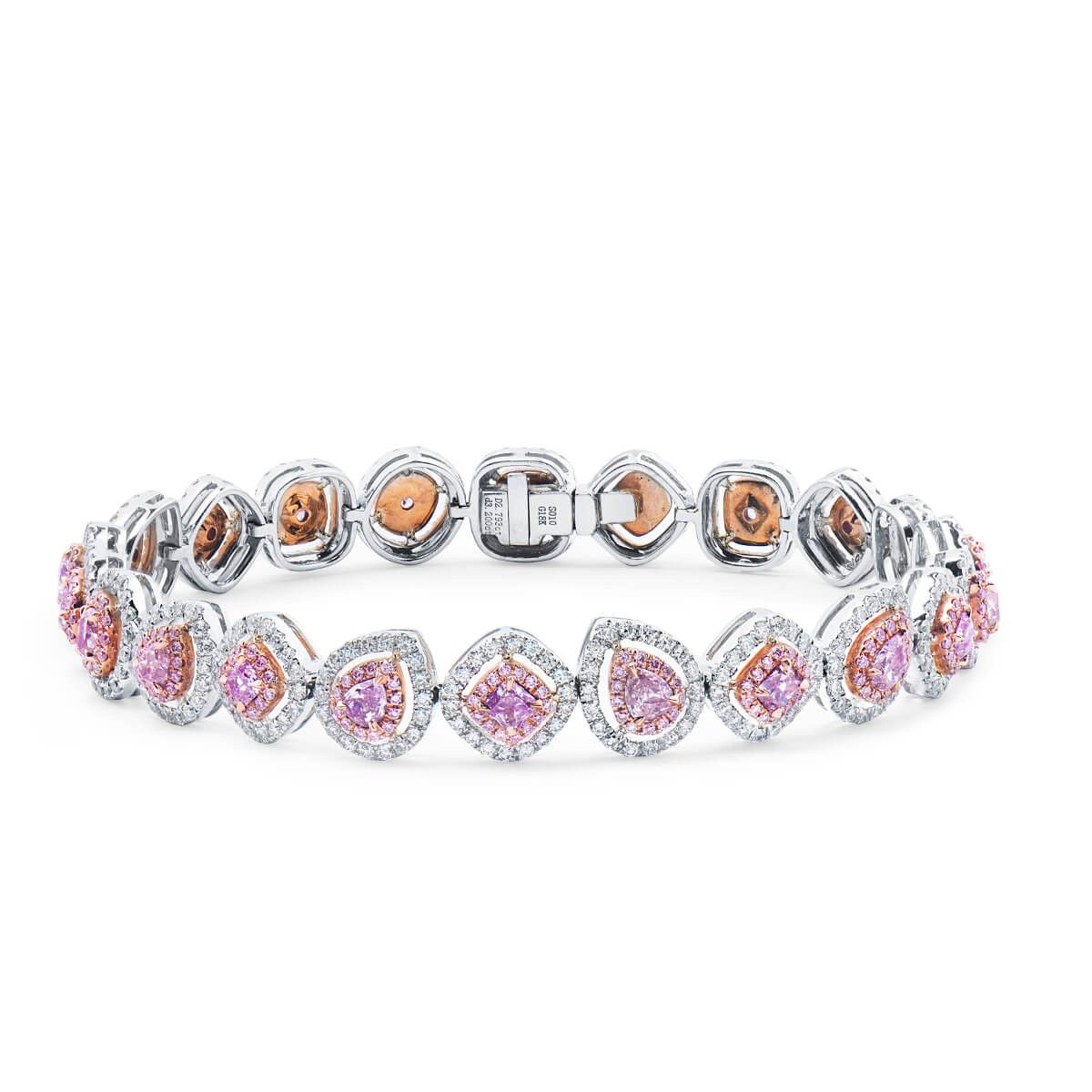 diamond pink in white bracelet tricolor yellow pin and gold