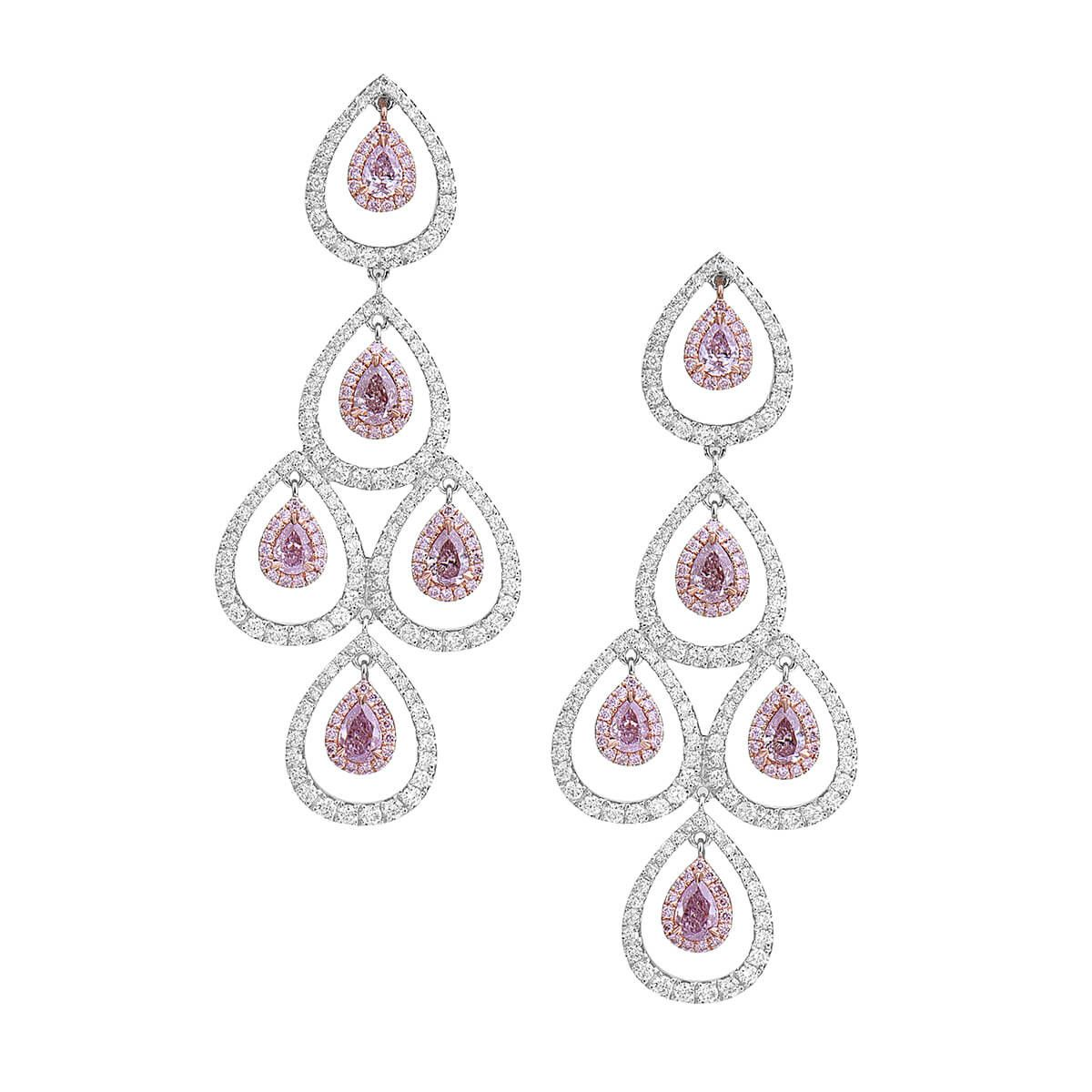Fancy Purple Pink Diamond Earrings 3 92 Ct Tw Pear Shape Gia Certified