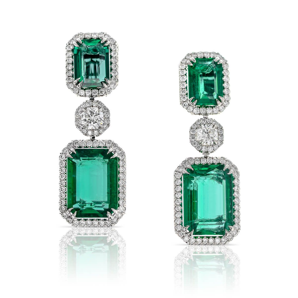 Natural Green Zambia Emerald Earrings 22 14 Ct Tw Grs Certified Jceg05328962