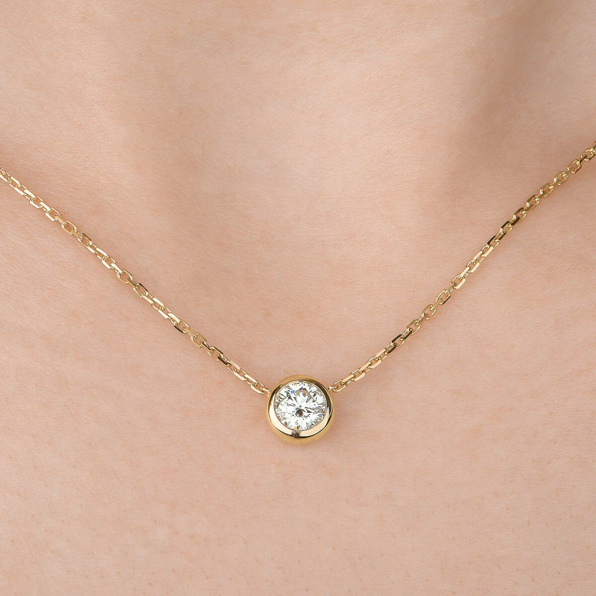 small nl yellow ct gold single diamond pendant carat round necklace yg in solitaire jewelry
