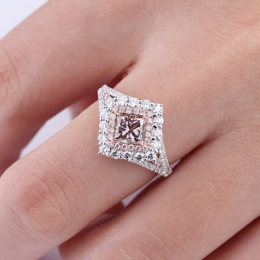 Fancy Brownish Pink Diamond Ring, 1.99 Ct. TW, Princess shape, GIA ...