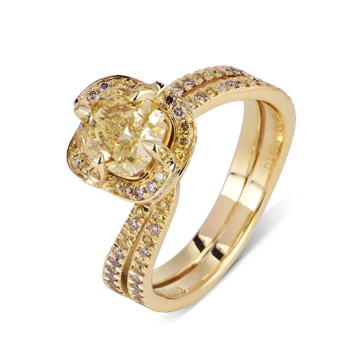 ring brownish ct certified diamond tw cushion clarity yellow carat gia shape fancy