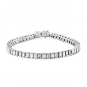 White Diamond Bracelet, 10.12 Carat, Emerald shape