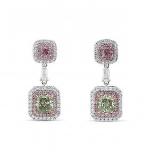 Pink & Green Diamond Earrings, 3.49 Ct. TW, Radiant shape, GIA Certified, JCEF05389313