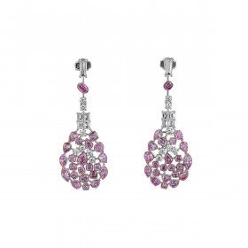 Fancy Pink Diamond Earrings, 7.38 Ct. (10.78 Ct. TW), Cushion shape, EG_Lab Certified, J5926220329