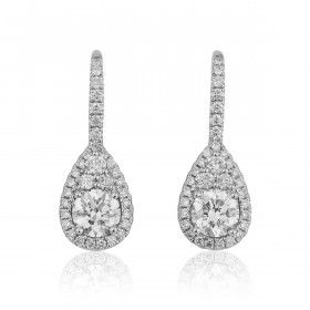White Diamond Earrings, 1.05 Ct. (1.59 Ct. TW), Round shape