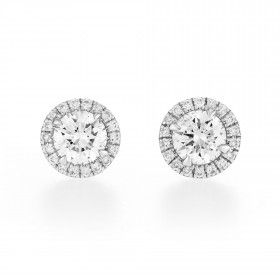 White Diamond Earrings, 0.67 Ct. (0.78 Ct. TW), Round shape