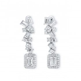 White Diamond Earrings, 2.20 Ct. (5.73 Ct. TW), Emerald shape, GIA Certified, JCEW05433601