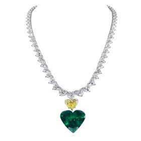 Natural Vivid Green Emerald Necklace, 45.90 Ct. (98.83 Ct. TW), GRS Certified, JCNG01101778