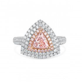 Fancy Light Orange Pink triangle halo diamond, 0.81 ct, SI1, GIA