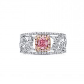 Very Light Pink Diamond Ring, 0.53 Ct. TW, Cushion shape, GIA Certified, 6192640771