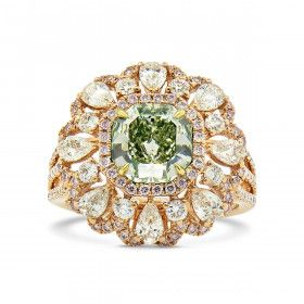 Fancy Yellow Green Diamond Ring, 3.41 Ct. TW, Radiant shape, GIA Certified, 2155894172