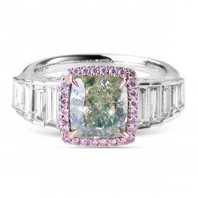 Fancy Grayish Greenish Yellow Diamond Ring, 2.51 Ct. (3.57 Ct. TW), Cushion shape, GIA Certified, 3255403571
