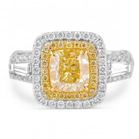 Light Yellow Diamond Ring, 2.95 Ct. TW, Cushion shape, GIA Certified, 1182017615
