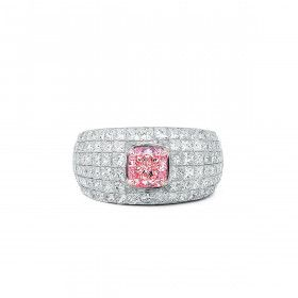 Fancy Brownish Pink Diamond Ring, 1.05 Ct. (4.02 Ct. TW), Cushion shape, GIA Certified, 2155974574