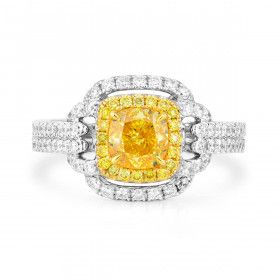 Fancy Vivid Yellow Diamond Ring, 1.00 Ct. (1.82 Ct. TW), Cushion shape, GIA Certified, 2181975180