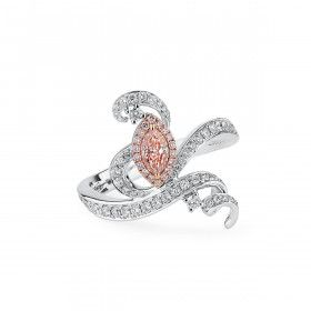 Fancy Light Pinkish Brown Diamond Ring, 0.29 Ct. (0.80 Ct. TW), Marquise shape, GIA Certified, 2314038176