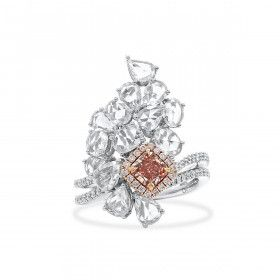 Fancy Deep Brownish Orangy Pink Diamond Ring, 0.69 Ct. (2.99 Ct. TW), Radiant shape, GIA Certified, 2165921592