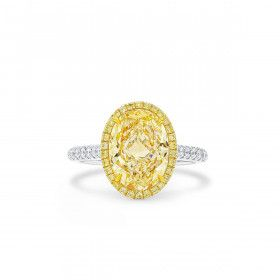 Very Light Yellow (O-P) Diamond Ring, 3.02 Ct. (3.36 Ct. TW), Oval shape, GIA Certified, 2354387995