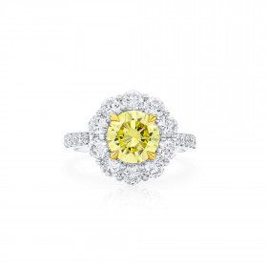 Fancy Intense Yellow Diamond Ring, 1.63 Ct. (3.11 Ct. TW), Round shape, GIA Certified, 2155574441