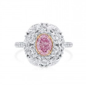 Very Light Pink Diamond Ring, 0.81 Ct. (3.27 Ct. TW), Oval shape, GIA Certified, 6371701126