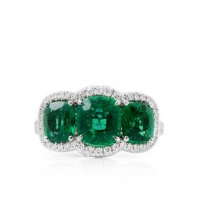 Natural Green Emerald Ring, 3.30 Ct. (3.63 Ct. TW), IGL Certified, J98600265IL, Unheated