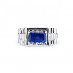 Natural Blue Sapphire Ring, 3.17 Ct. (3.94 Ct. TW), GRS Certified, GRS2014-106654, Unheated