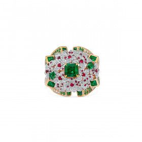 Natural Vivid Green Emerald Ring, 0.82 Ct. (4.55 Ct. TW), GRS Certified, GRS2020-028216