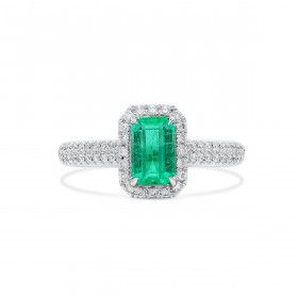 Natural Vivid Green Emerald Ring, 0.79 Ct. (1.08 Ct. TW)
