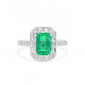 Natural Green Emerald Ring, 2.19 Ct. (3.11 Ct. TW), GRS Certified, GRS2020-098741