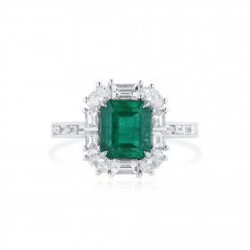 Natural Vivid Green Colombia Emerald Ring, 1.83 Ct. (3.02 Ct. TW), GRS Certified, GRS2021-038580