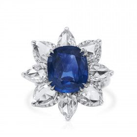 Natural Blue Sapphire Ring, 8.05 Ct. (12.50 Ct. TW), GRS Certified, GRS2020-128116, Unheated