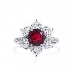 Natural Vivid Red Ruby Ring, 3.03 Ct. (6.30 Ct. TW), GRS Certified, GRS2018-118055, Unheated