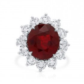 Natural Vivid Red Mozambique Ruby Ring, 9.01 Ct. (12.02 Ct. TW), GRS Certified, GRS2017-051599, Unheated